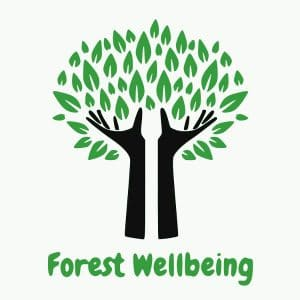 The Forest Wellbeing logo, which shows black hands forming the trunk of a tree, with green leaves bursting forth.