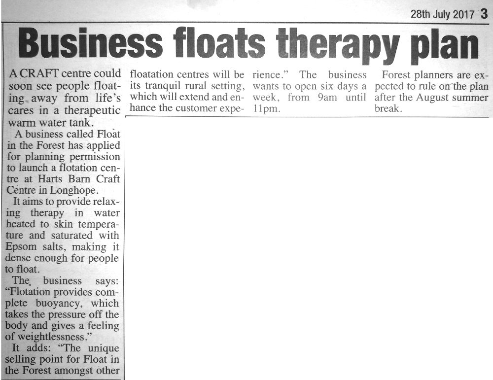 Exerpt from The Review, about Float in the Forest planning application.