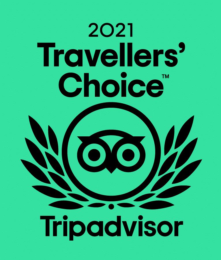 2021 Travellers Choice award from Tripadvisor